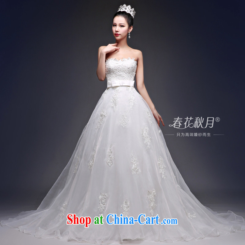 Blooming crazy chest bare tail wedding dresses Korean 2015 new spring and summer bridal sexy graphics thin back exposed high white XXL