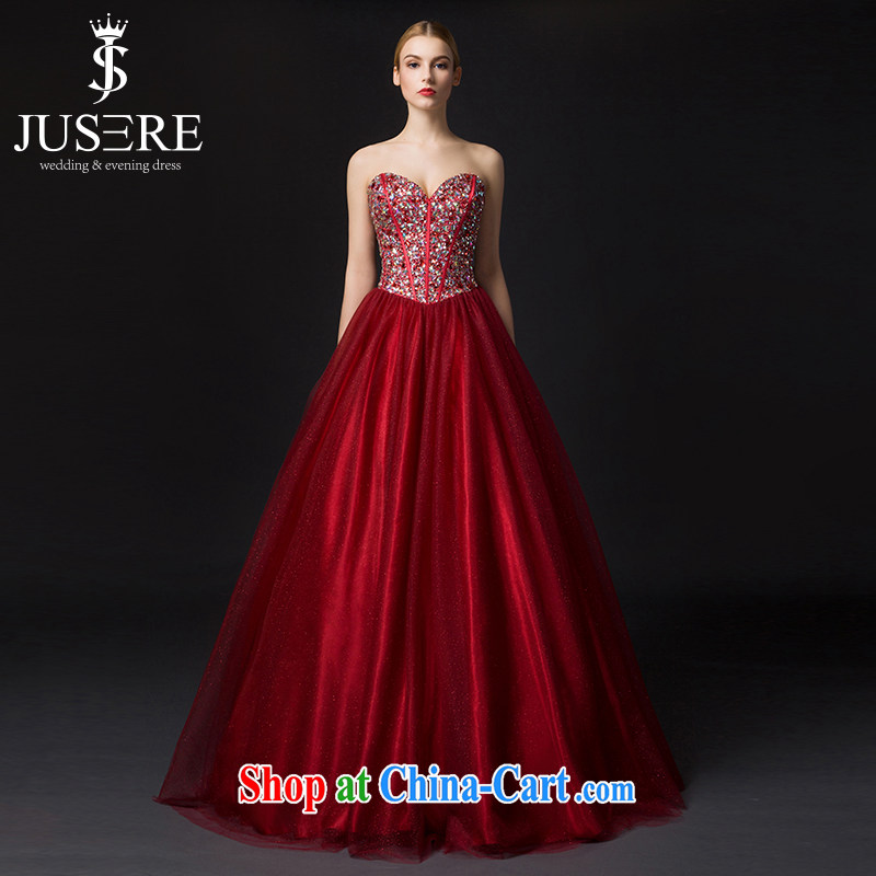 It is the JUSERE high-end wedding dresses color dresses the Stage service 2015 wiped his chest, Japan, and South Korea wedding bridal wedding dress with wedding deep red tailored