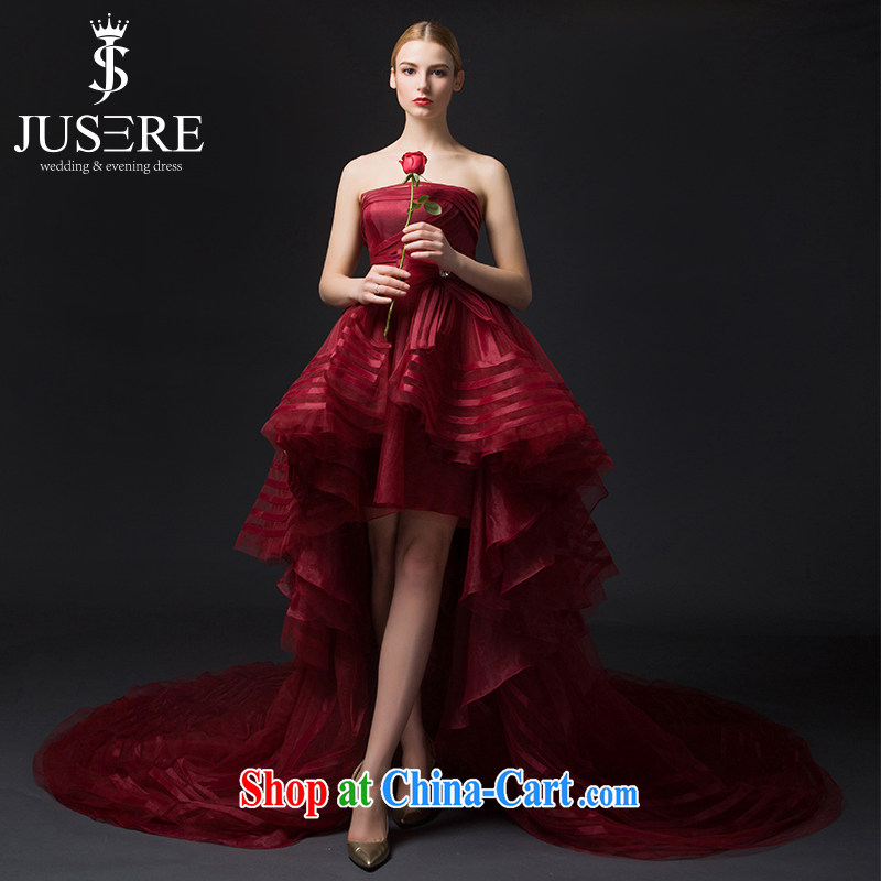 It is the JUSERE high-end wedding dresses color dresses the Stage service 2015 wiped his chest, Japan, and South Korea wedding before after short-tail wine red tailored