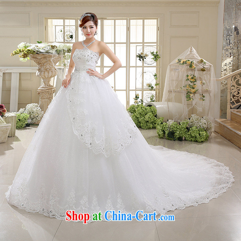 White first into some high-waist wedding Korean wiped chest High-tail shaggy dress bride Deluxe body wedding dresses spring 2015 new white XXL