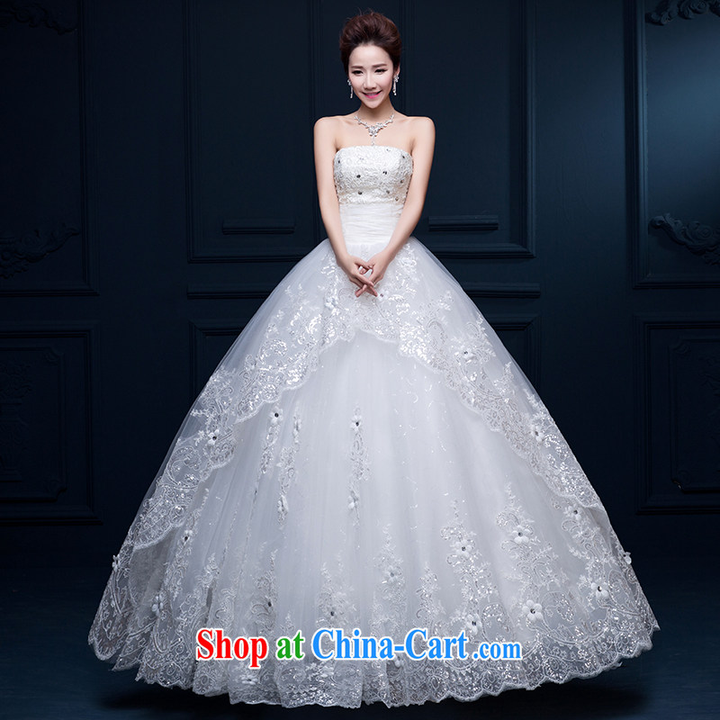 Qi wei summer 2015 new Korean fashion marriages wedding dresses larger graphics thin smears chest strap with shaggy dress wedding white XL
