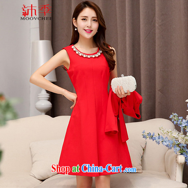 Mu season new spring dress wedding bride's toast at the door dress sister bridesmaid dress at annual skirts dresses two piece set with 1528 red XXL