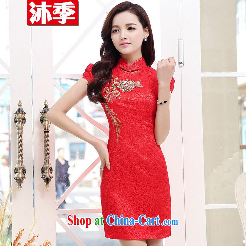 Mu seasonal door bridal wedding dresses wedding dresses new summer uniforms toast short cheongsam 1553 red L