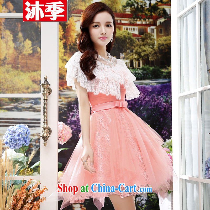 Mu season 2015 new female short dresses shaggy Web yarn short skirts wedding bridal toast dress sister bridesmaid dress 1568 pink S