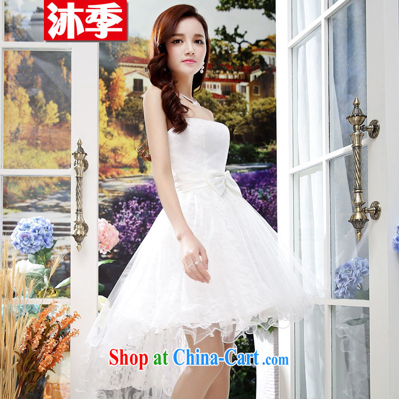 Mu season 2014 New Name-yuan Hong Kong small wind short-sleeved cultivating good wedding A field dresses wedding dresses 1557 white XL