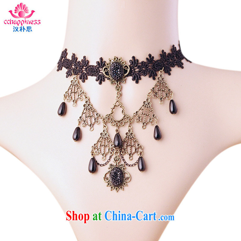 Han Park _cchappiness_ Europe long exaggerated ornaments made only us dark queen retro lace necklace