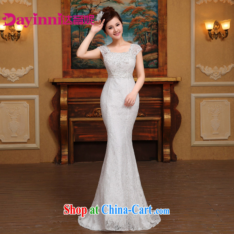 2 cultivating crowsfoot wedding dresses a shoulder 2015 new small tail sexy luxury big graphics thin white S