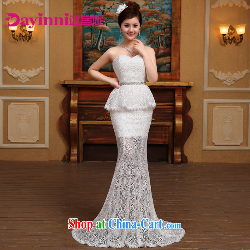 2015 new Korean crowsfoot Openwork tied with Mary Magdalene high chest beauty video skinny tail Princess wedding white S
