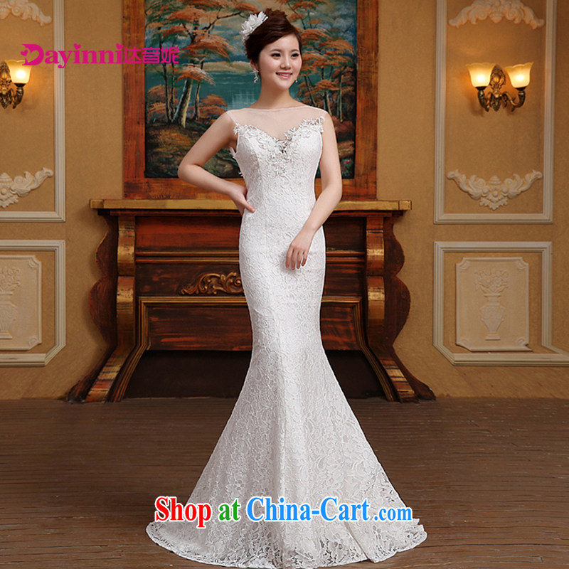 2015 new wedding Korean fashion a Field shoulder buds silk yarn small tail bridal wedding white S