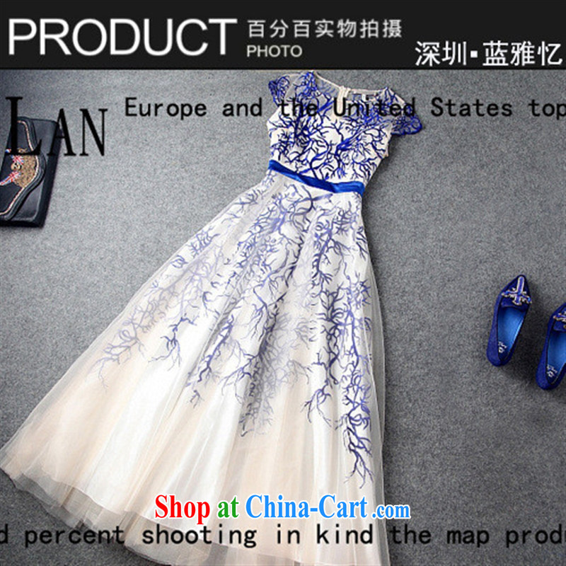 9 month female _ 2014 Europe the genuine dress annual meeting moderator dress and embroidery long dress T 1360 blue XL