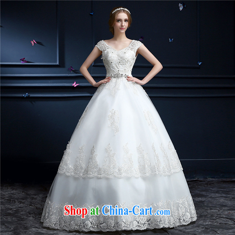 Beijing, Hong Kong, 2015 -- New Dual-shoulder bag shoulder wedding lace V for high-end alignment to bind with the Code graphics thin wedding Princess bridal wedding white XXL