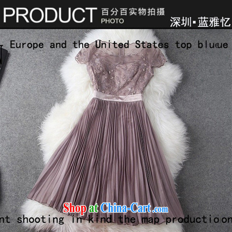 9 month female * 2014 European high-end women's clothing new spring dresses, skirts the root yarn stitching and staples Pearl dresses T 1425 pink XL