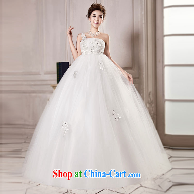 Jubilee 1000 bride 2015 spring and summer new Korean high-waist graphics thin stylish large, pregnant women thick MM brides with wedding dresses H 715 white Korean high waist XXL/2 feet 6 waist