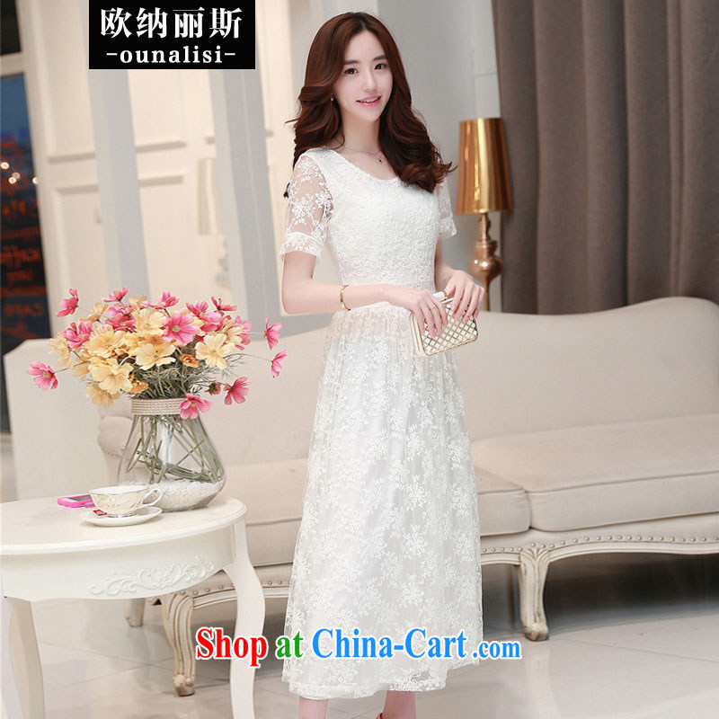 The OSCE, Alice, 2015 Sau San video thin temperament stamp embroidery the waist lace snow woven long skirt evening dress bridesmaid Service Bridal wedding white L