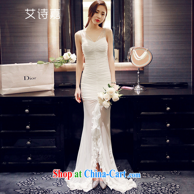 The poem, dresses 2015 summer dress new Korean wedding bridesmaid Evening Dress sexy style sleeveless dress dresses 1862 white L