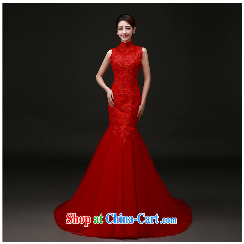 The beautiful yarn a Field shoulder beauty package and wedding summer 2015 new sleeveless red lace small tail wedding dresses factory direct. Red can be customized