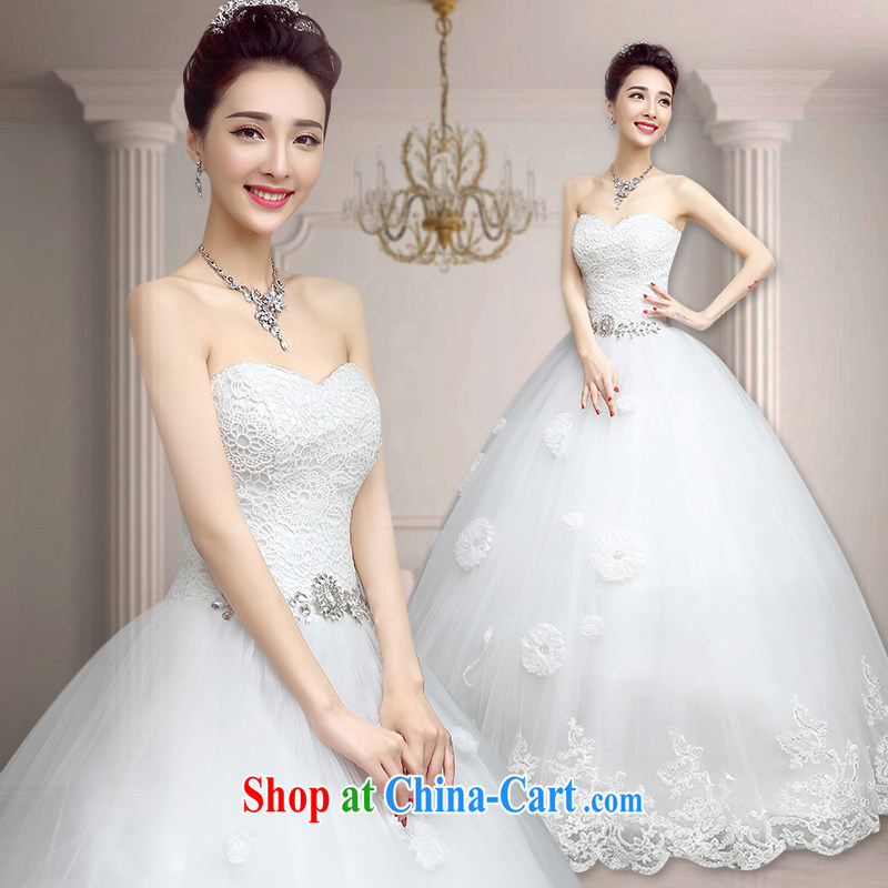 According to T-shirt in accordance with the wedding dresses 2015 spring and summer new white tie-wiped off chest wedding Korean version minimalist with graphics thin marriages wedding wiped his chest, with XXL