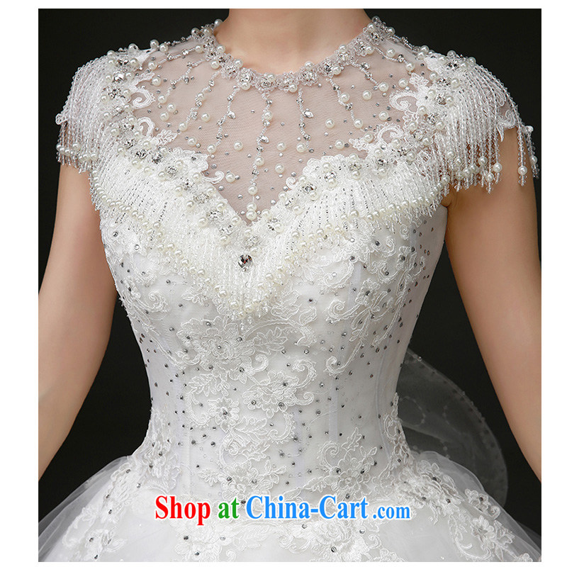 The beautiful yarn 2015 summer New Field shoulder stylish and elegant wedding dress unique flow, shoulder with tail wedding dresses white M, beautiful yarn (nameilisha), shopping on the Internet