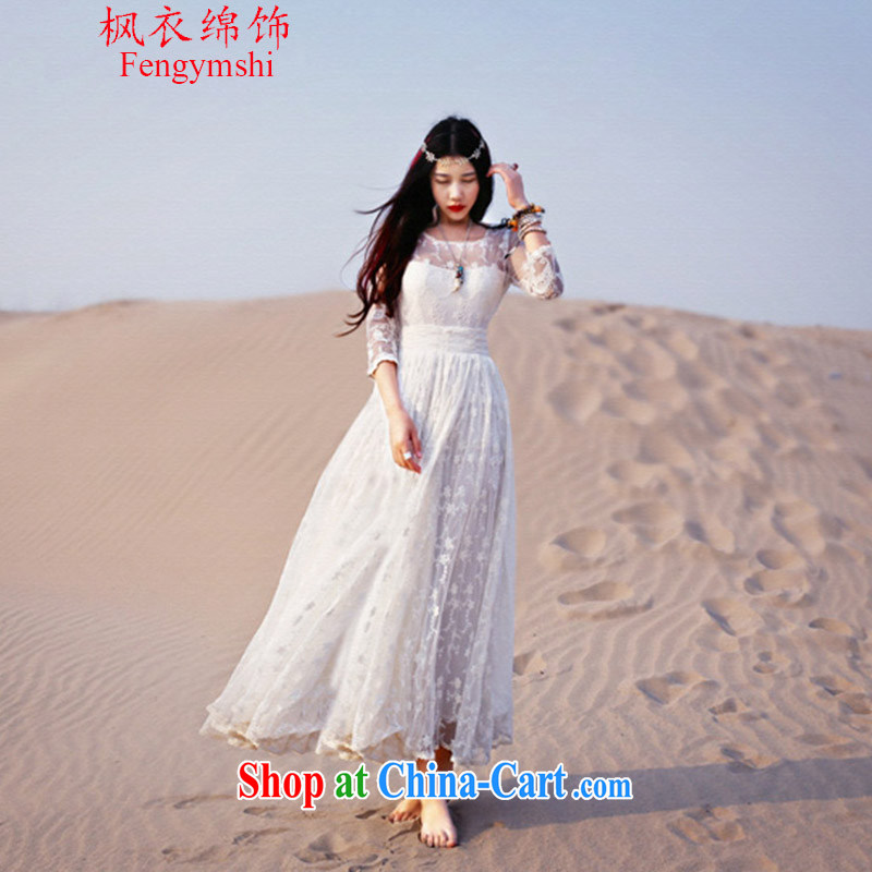Feng Yi cotton trim 2015 new arts ultra-large style Openwork lace to hand embroidery dresses 6505 # 1660 G A picture color XL