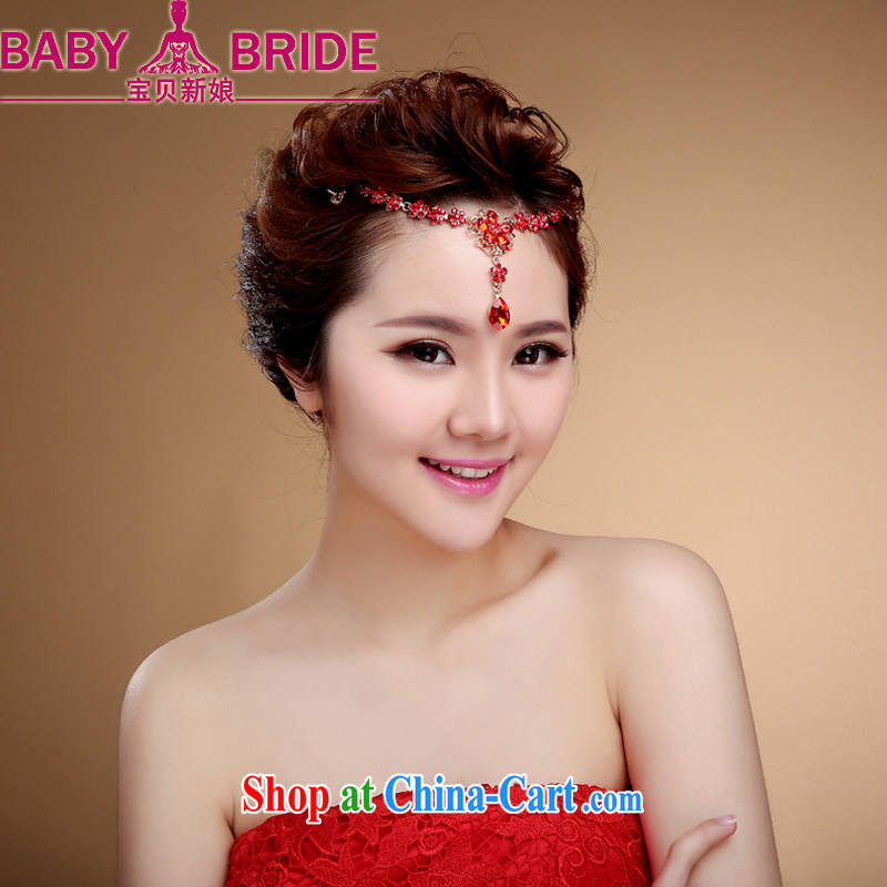 Bridal head-dress costumes for international water drilling Korean-style and heart fall marriage plates and flowers wedding accessories red