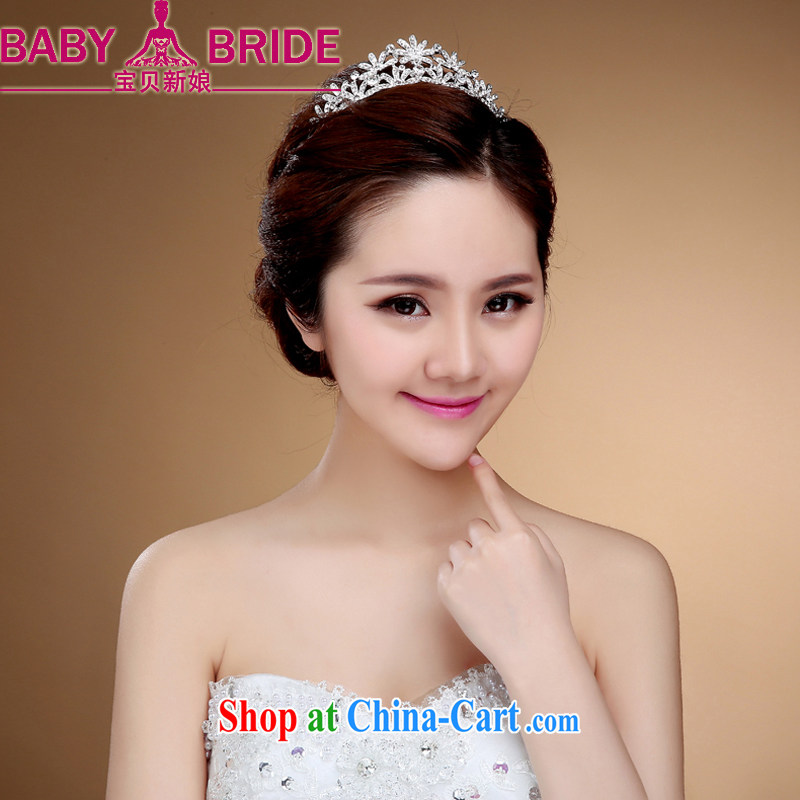 Korean bridal necklace earrings Crown water drilling wedding dresses accessories and jewelry white