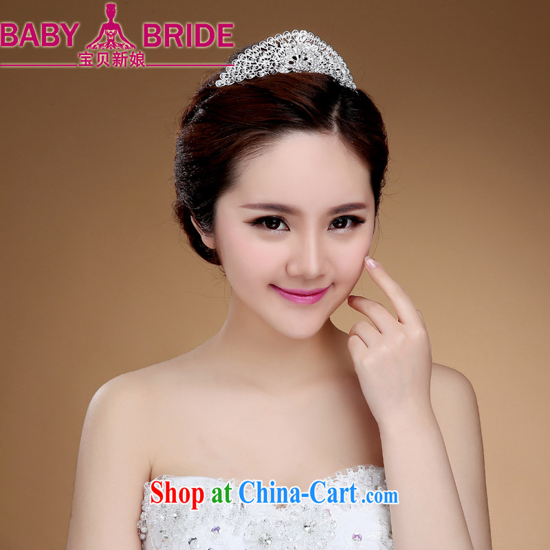 Bridal and wedding accessories silver Korean-style Crown water drilling jewelry white