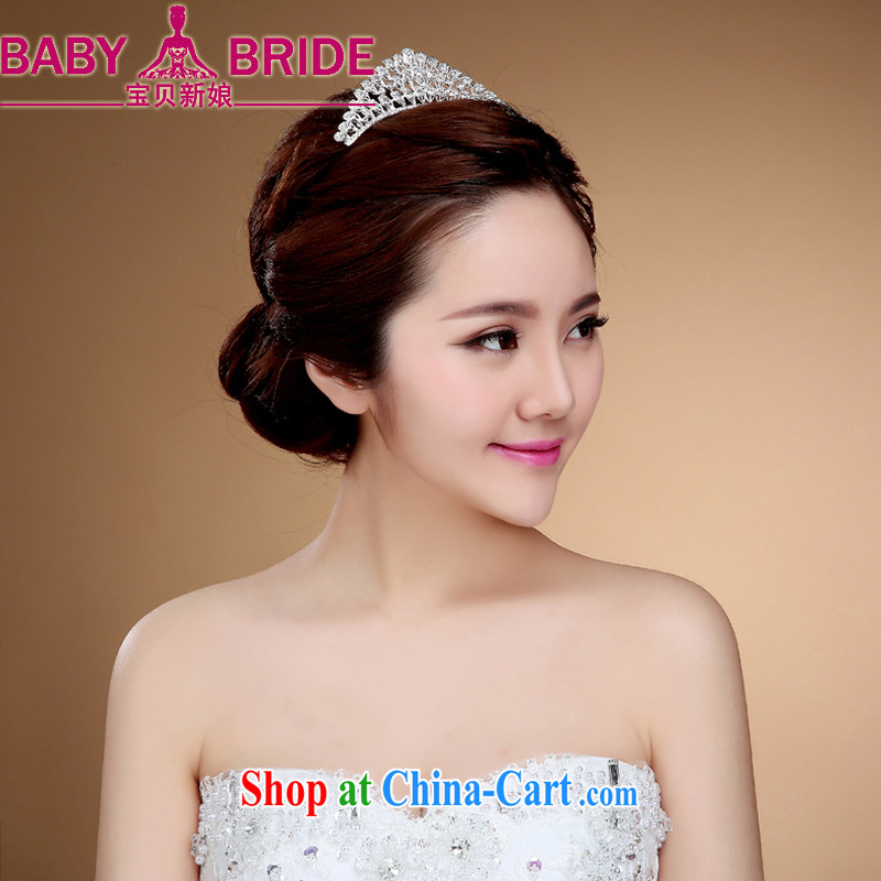 European-style Princess the Crown and ornaments bridal headdress the clamp marriage hair accessories wedding accessories bridal jewelry Korean-style white