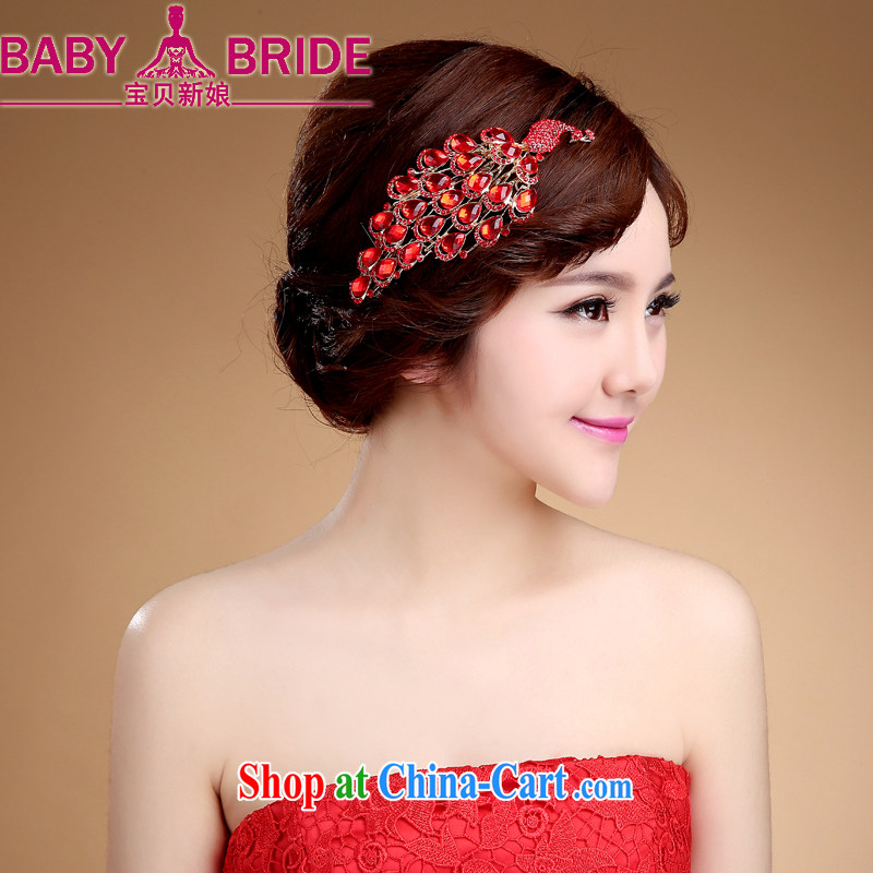Bridal jewelry red and Korean-style wedding hair accessories dresses retro lace and flower wedding-band magenta