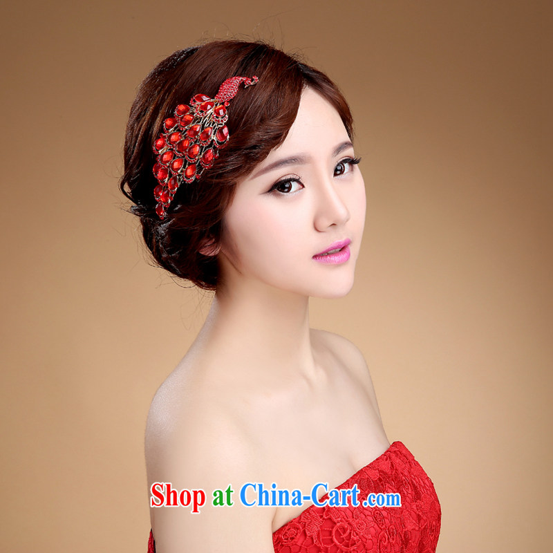 Bridal jewelry red and Korean-style wedding hair ...