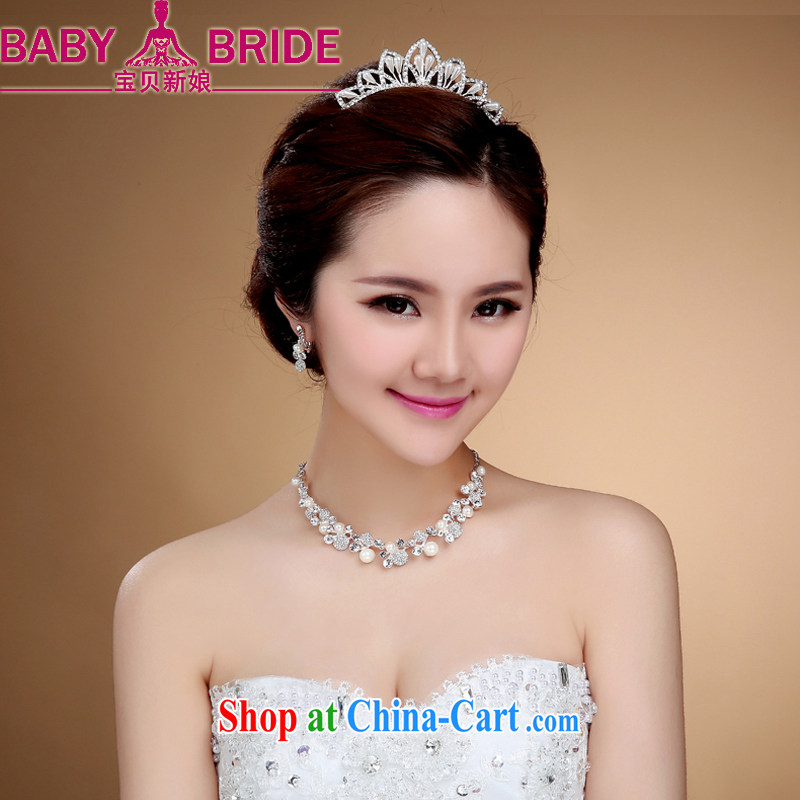 Bridal head-dress water drilling Korean version of Crown American bridal accessories Korean brides and marriage retro Crown headdress white