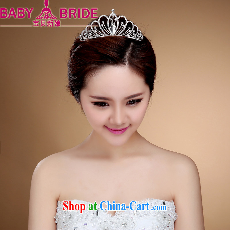 crown and ornaments, clamp, Japan, and South Korea Princess water drilling small children hair accessories bridal Korean head clamp Korean-style white