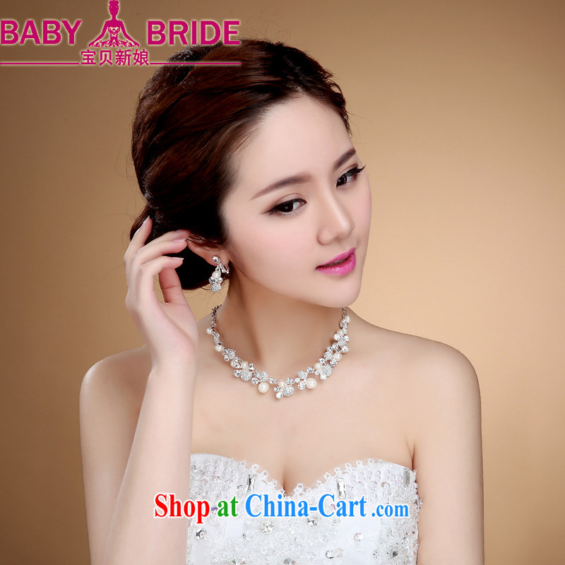 Korean-style high-end custom Manual Water diamond necklace bridal wedding jewelry wedding accessories white