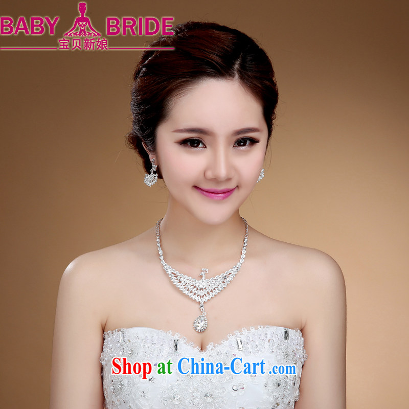 Korean bridal necklace earrings popular wedding dresses jewelry woman married a link with water drilling decorative jewelry white