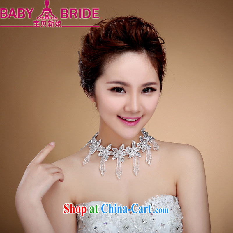 Necklace water drilling happiness of Korean-style manual lace wedding jewelry necklace Pearl wedding accessories white