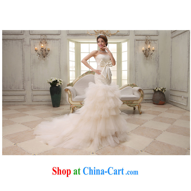 New 2015 wiped his chest pack and small-tail wedding beauty graphics thin tied with elegant front short long wedding dresses, beautiful yarn factory direct light champagne customizable