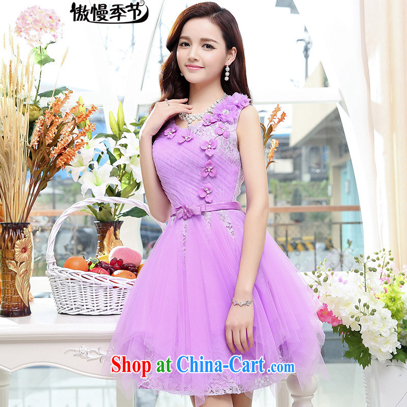 Summer 2015 new Korean women waist-cultivating noble magnificent round-neck collar shaggy dress dress dress purple S