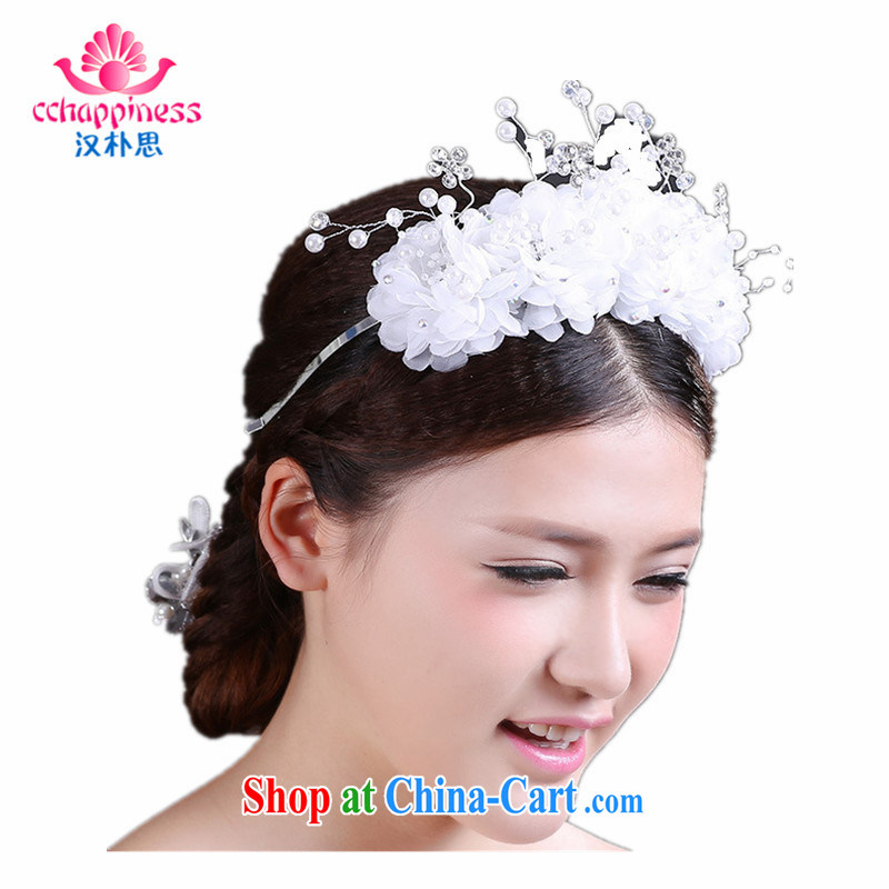 Han Park _cchappiness_ Korean marriages white snow-woven crystal head garlands and upscale wedding head clamp
