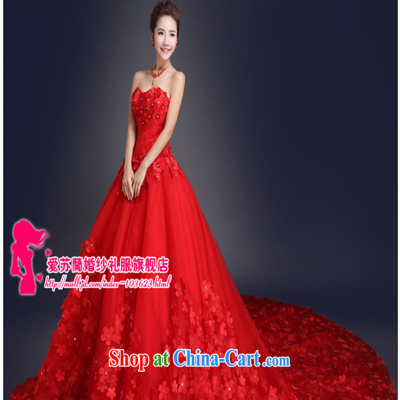 New Red erase chest flowers wedding tail Korean Beauty graphics thin wedding long-tail red 1M tail S