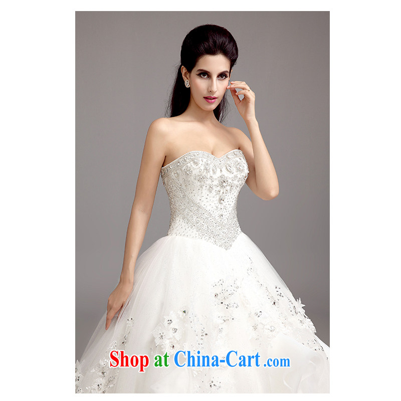 The beautiful yarn 2015 new erase chest tail wedding Europe luxury parquet drill large tail Korean-style binding with beauty and classy bride wedding factory direct white customizable