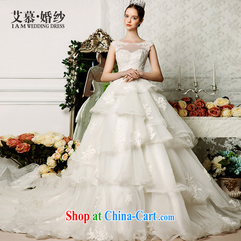 On the wedding dresses new 2015 spring and summer Ling Ms Audrey EU shoulders shaggy dress lace long-tail wedding ivory L