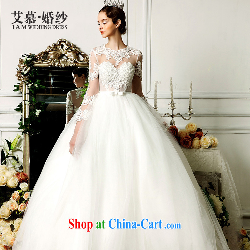 On the wedding dresses new 2015 spring and summer dream Angel with shaggy dress long-sleeved lace wedding ivory L
