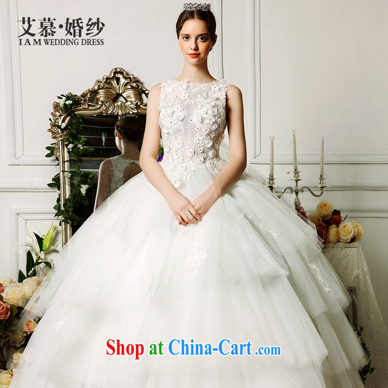 On the wedding dresses new 2015 Spring and Summer Scent mute shoulders three-dimensional petals shaggy dress lace wedding ivory L