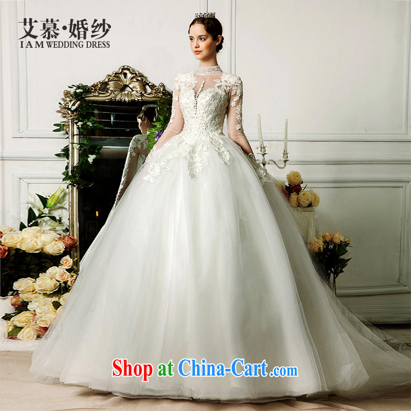 With the wedding dresses new 2015 spring and summer cycle, cloud for long-sleeved lace long-tail stars with wedding ivory L