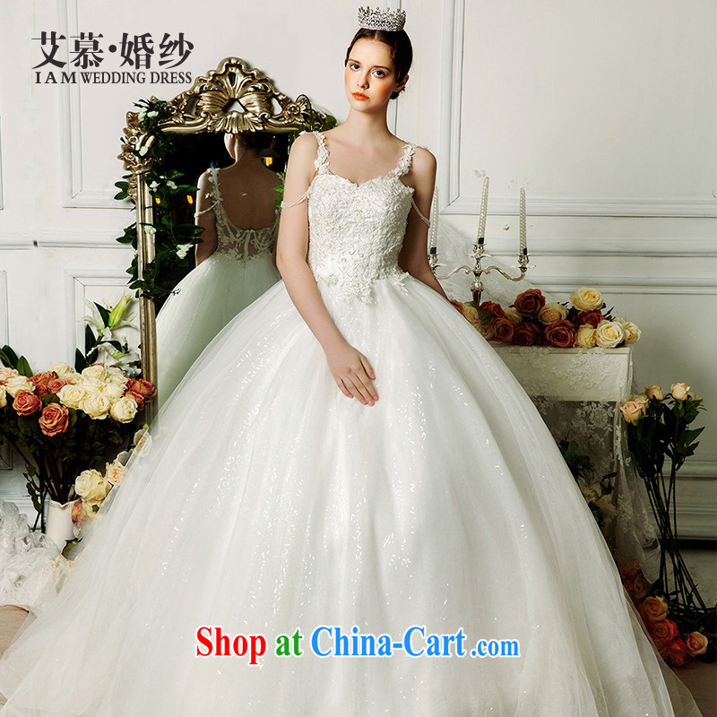 With the wedding dresses new 2015 spring and summer Yuen-ting hung with shaggy dress long-tail erase chest wedding ivory L