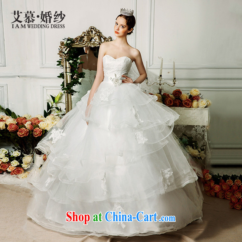 On the wedding dresses new 2015 spring and summer Yasukuni Shrine Yao wiped chest lace shaggy dress tail wind Palace wedding ivory L