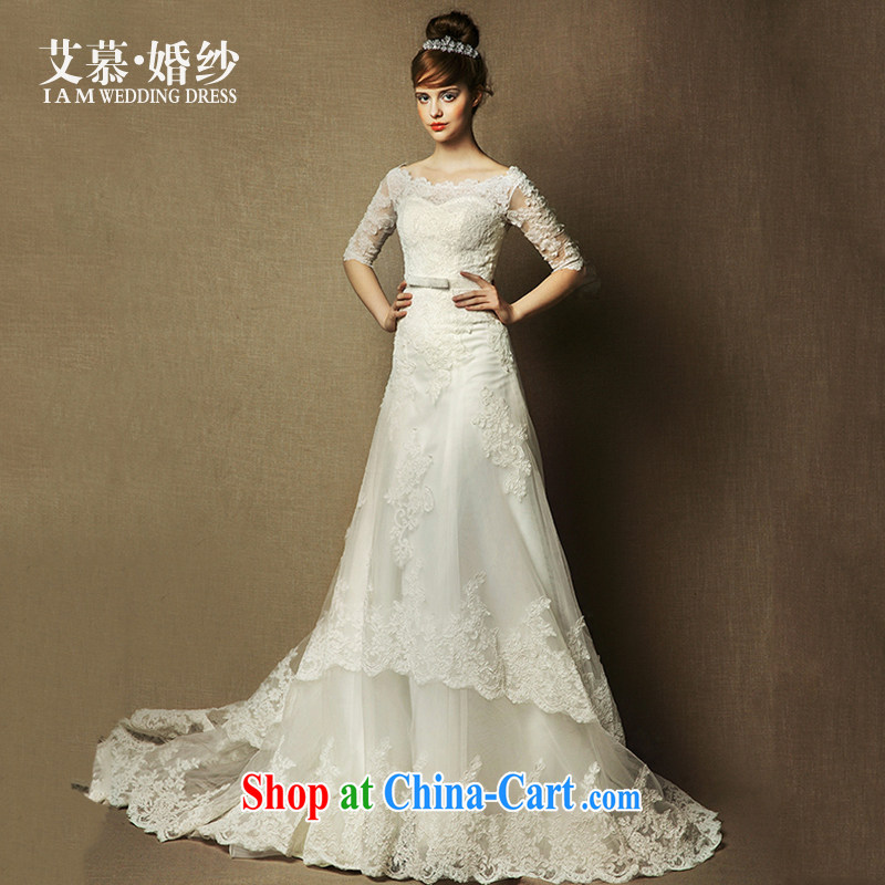 On the wedding dresses new 2015 spring and summer, Sophie field shoulder lace long-sleeved long-tail wedding ivory L