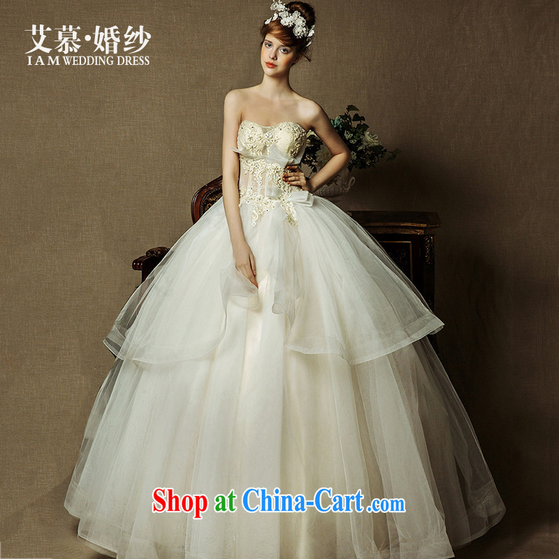 On the wedding dresses new 2015 spring and summer Ling , half and lace bare chest shaggy dress champagne color wedding champagne color L