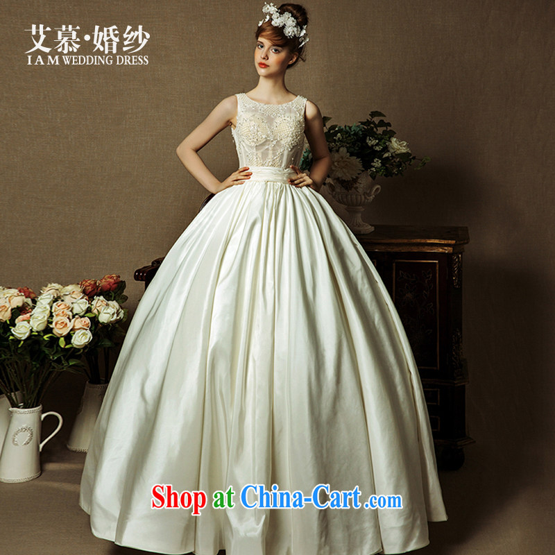 With the wedding dresses new 2015 spring and summer-Xuan shoulders and half with shaggy dress wedding champagne color L