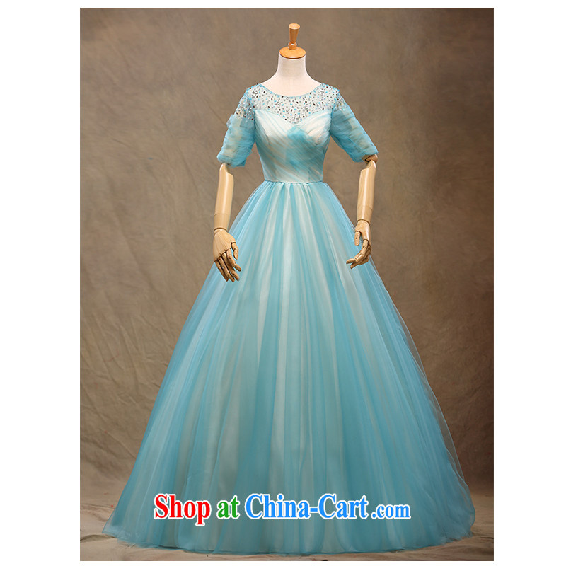 New 20,151 field shoulder alignment to dress double-shoulder short-sleeved round-collar simple graphics thin strap beauty red wedding dresses, beautiful yarn in stock to the light blue can be customized