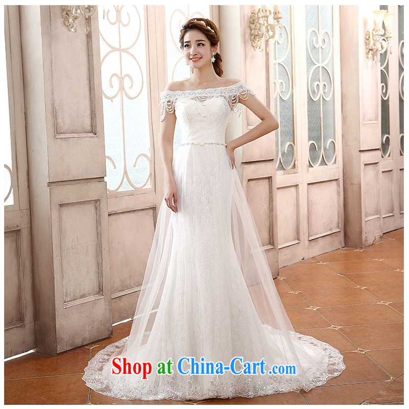 The beautiful yarn a Field shoulder small tail wedding 2015 new collection waist crowsfoot stylish lace-bound beauty with minimalist film floor bridal wedding factory direct tail customizable
